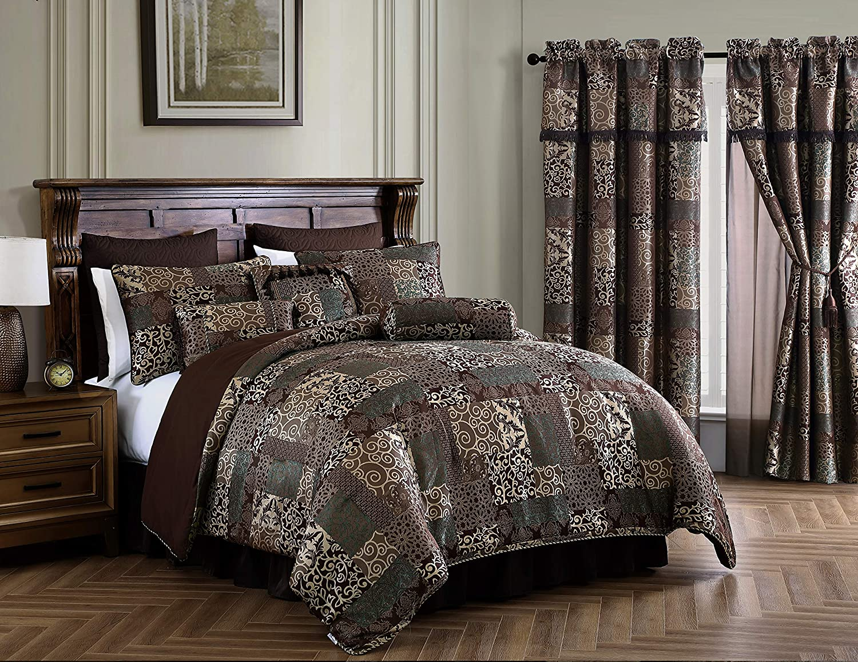 Amelia 売店 9-Piece Floral Jacquard Patchwork Br King Set Comforter まとめ買い特価