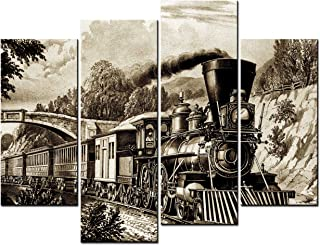 SmartWallArt - Vehicle Paintings Wall Art a Lead Sketch Steam Train Travels in Mountains 4 Panel Picture Print on Canvas for Modern Home Decoration