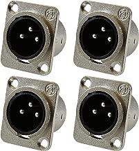 GLS Audio XLR Male Jack 3 Pin - Panel Mount Jacks D Series Size XLR-M - 4 PACK