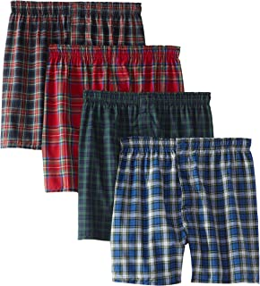 Hanes Ultimate Men's 4-Pack FreshIQ Plaid Boxer with ComfortFlex Waistband-Assorted Colors