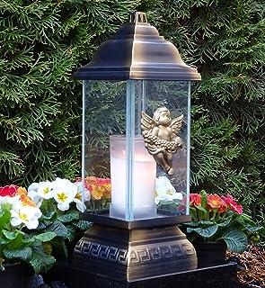 Grablaterne Grablampe Engel Bronze Grablicht Grableuchte Grabschmuck Grabkerze
