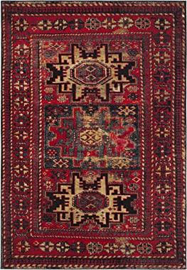 "Safavieh Vintage Hamadan Collection VTH213A Antiqued Red and Multi Area Rug (6'7"" x 9')"
