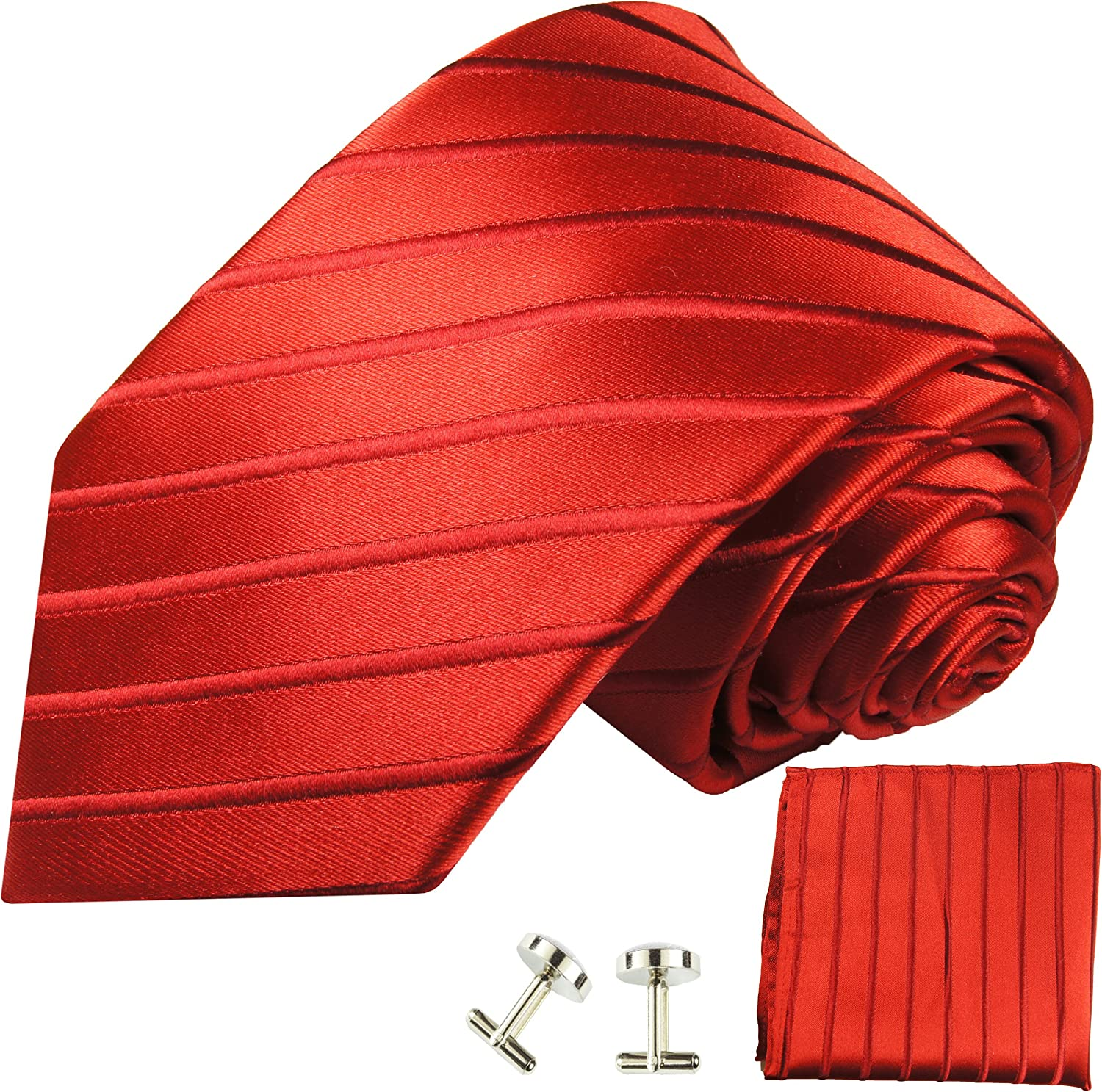 Exclusive Tango Red Silk Tie with Pocket Square and Cufflinks