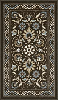 Maples Rugs 1'8 x 2'10 Non Skid Washable Throw Rugs [Made in USA] for Entryway and Bedroom, Coffee Brown