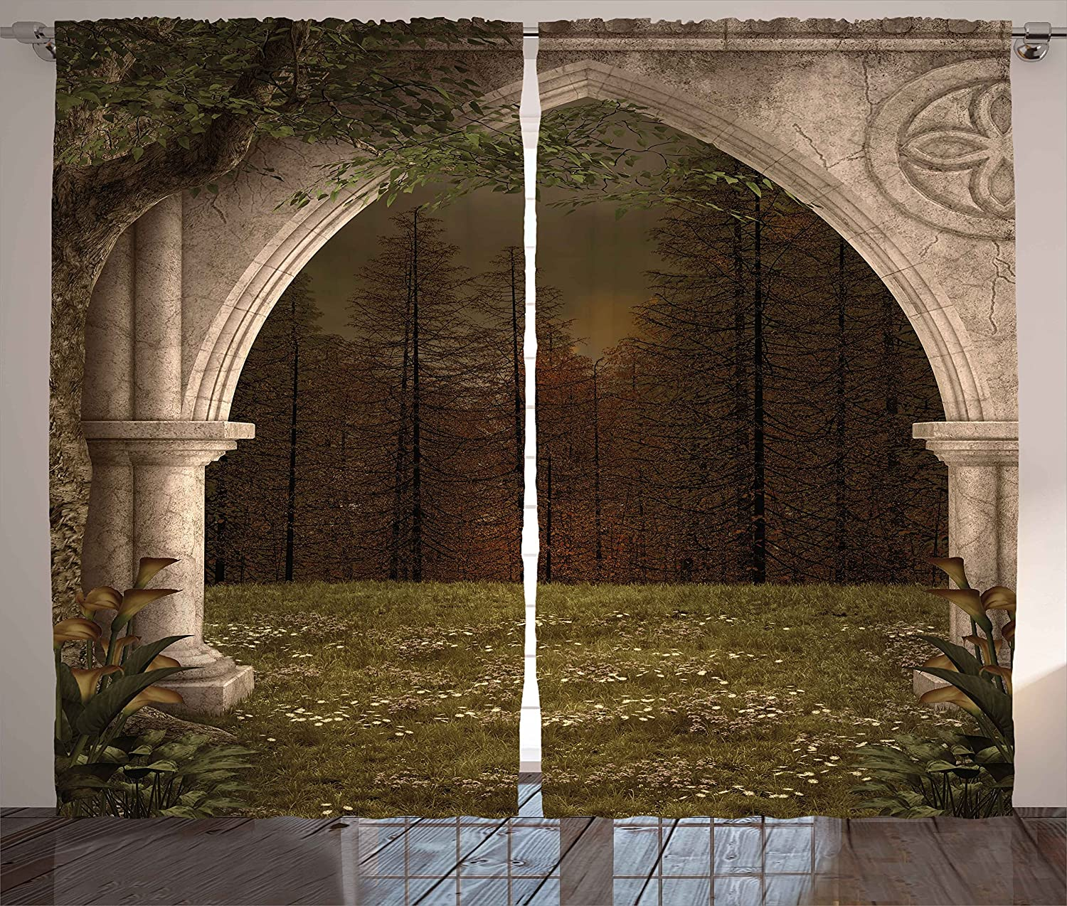 Ambesonne Gothic Decor Curtains, Old Retro Arch in Garden Renaissance Meadow Forest Dark Scary Design Image, Living Room Bedroom Window Drapes 2 Panel Set, 108 W X 84 L Inches, Green Beige