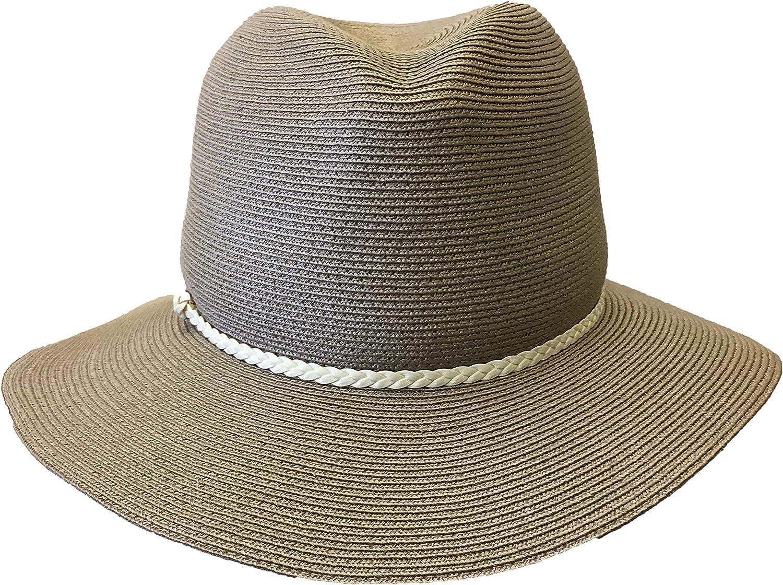 V Hats Women's Taupe Straw Fedora