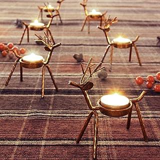 FORUP 6 Pack Metal Reindeer Tea Light Candle Holders, Christmas Decoration for Home,..