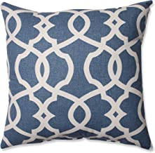 Pillow Perfect Lattice Damask Throw Pillow, 16.5-Inch, Blue