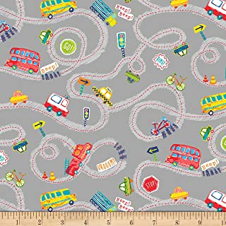 Windham Fabrics 0573148 Cubby Bear Flannel Prints Road Trip Grey Fabric by the Yard