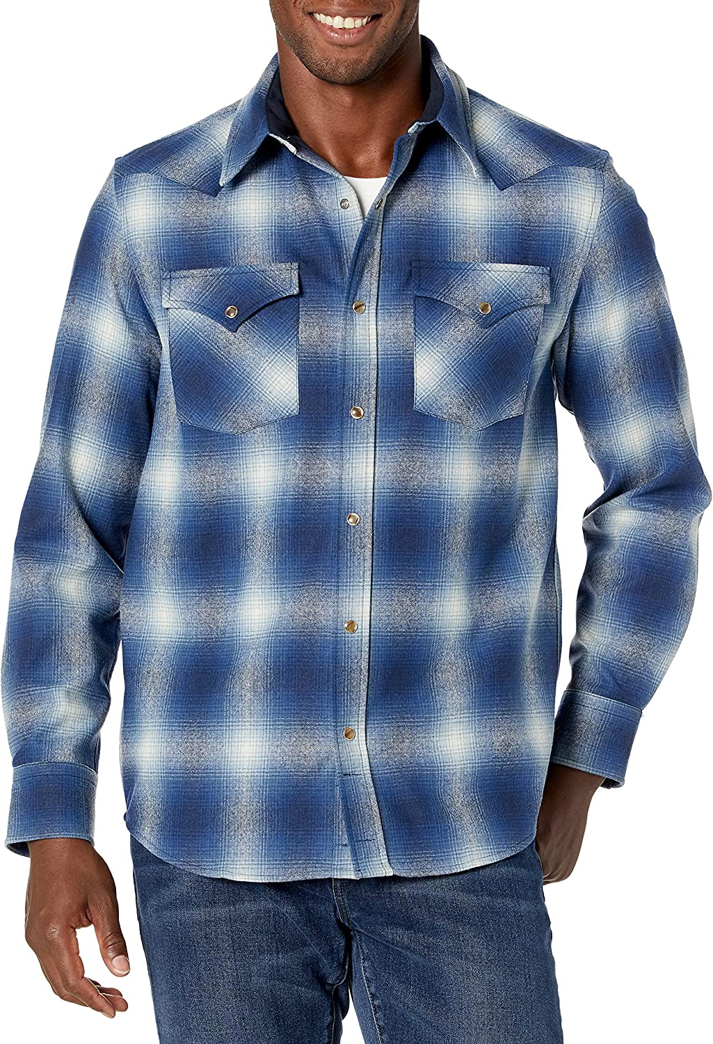 Omaha Mall Pendleton Men's Long Sleeve Sales Snap Front S Canyon Wool Fit Classic