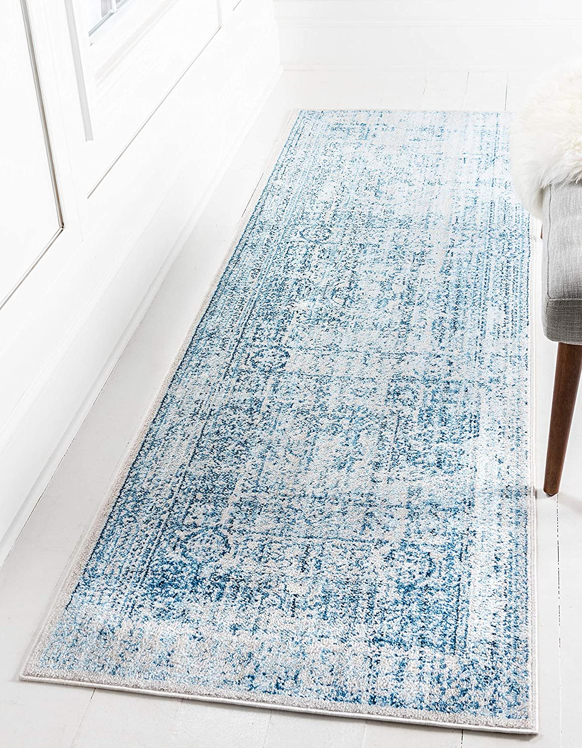 Unique Loom Brighton Collection Traditional Bohemian Bright Vintage bluee Runner Rug (3' x 8')