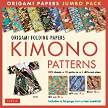 Origami Folding Papers Jumbo Pack: Kimono Patterns: 300 High-Quality Origami Papers in 3 Sizes (6 inch; 6 3/4 inch and 8 1/4 inch) and a 16-page Instructional Origami Book,