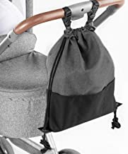 Zamboo Leichte Kinderwagentasche - Universal Beutel/Kinderwagen Organizer mit Befestigungshaken Buggy Clips - Kleine Wickeltasche/Wickelrucksack zum Umhängen - Grau Schwarz