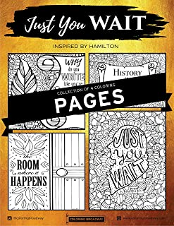 """Coloring Broadway Hamilton Card stock Coloring Pages (8 1/2"""" x 11"""" - Set of 4 individual designs)"""