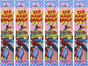 Sour Power Candy Straws, Flavored With Cotton, 6-Pack (Cotton, 6-Pack)