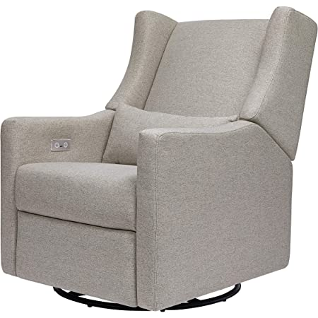 Babyletto Kiwi Electronic Power Recliner and Swivel Glider with USB Port in Performance Grey Eco-Weave, Greenguard Gold Certified