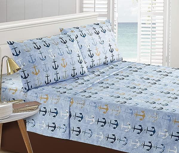 Seaside Resort Anchors Blue Sheet Set Queen