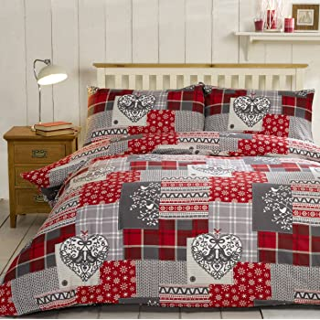 Alpine Patchwork Set di biancheria per letto singolo, con copripiumino trapuntato e federe copricuscino, motivo patchwork in stile alpino, 100% flanella di cotone felpato, colore: rosso su sfondo multicolore
