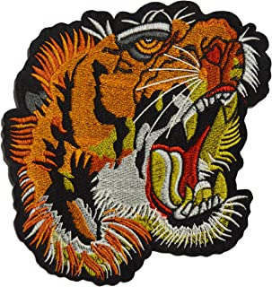 Est Mundum Motorcycle Backpack Patches Designer Snake   Bee   Tiger   Rose   Multi-Pack Kit   Embroidered Iron On Patch for Jackets   (Screaming Tiger)
