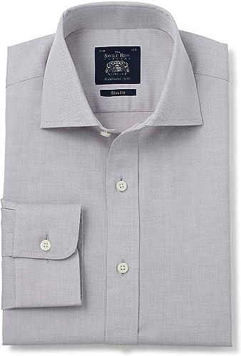 Savile Row Hommes's gris Herbaguebone Slim Fit Shirt - Single Cuff