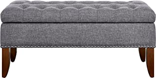 Pulaski Hinged Top Button Tufted Bed Heathered Grey, 41.50
