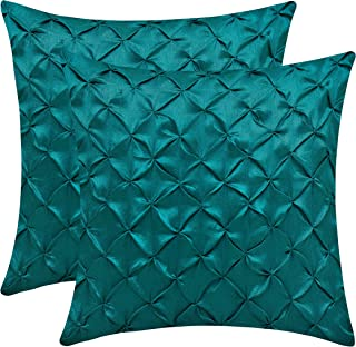 The White Petals Dark Teal Euro Sham Covers (Faux Silk, Pinch Pleat, 26x26 inch, Pack of 2)