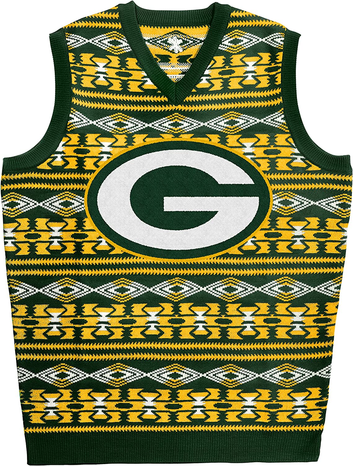 KLEW NFL Green Packers Ugly Sweater Vest, Small, Green