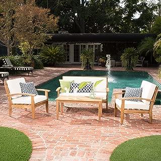 GDF Studio Preston 4 Piece Wood Outdoor Patio Seating Chat Set w/Beige Cushions