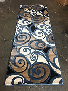 Modern Runner Rug Blue Sculpture Design #S 241 (31in.x7ft)