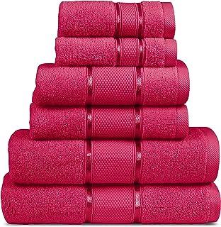 MIMAATEX 6 Pieces Towel Set Zero Twist Ultra Soft Long Staple Cotton- Set Includes-2 Bath, 2 Hand and 2 Wash Cloth (Burgundy)
