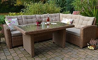 bomey Ecklounge Manhattan Gartensofa mit Tisch Natur Links Polyrattan Rundgeflecht