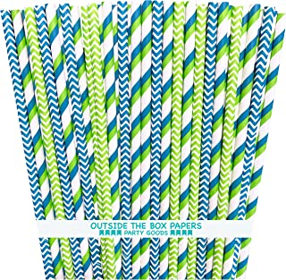 Blue Green and White Paper Straws - Multi Stripe Chevron - 100 Pack - Outside the Box Papers Brand