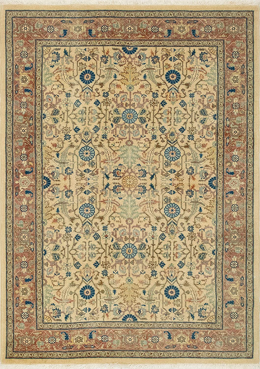 Noori Rug Turkish-Knotted Joshua Ivory Outlet sale feature 5'10 x Rust 4'3 shop