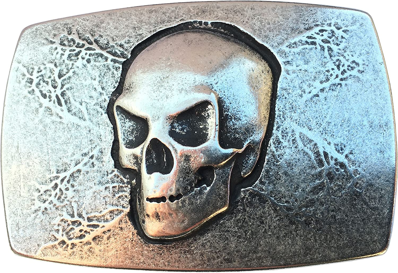 CENO Hebilla de Cinturón Diseño de Calavera, Belt Buckle, Cinturón de Kombi