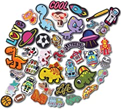 HeyaZea 40pcs Cool Kids Embroidered Iron On Patches Cute Sewing On Patches Appliques for Clothes Jackets Hats Backpacks Jeans; Boys Girls; Fishes Dinosaurs Cars Sports Space Animal Robot Inspirational