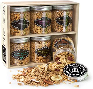 Oh! Nuts Healthy Granola Gift Baskets, 6 Variety Christmas Basket of Gourmet Toasted Oats & Nut, Birthday Gifts for Women,...