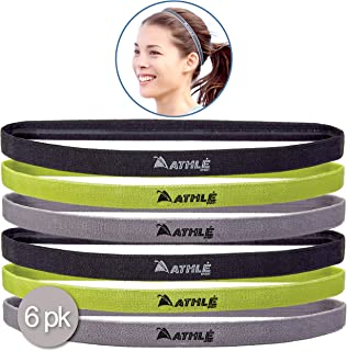 8300ba0a8d9d Athlé Skinny Sports Headbands 6 Pack - Men s and Women s Elastic Hair Bands  with Non Slip