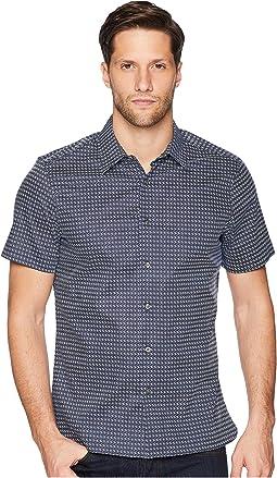Mini Geo Print Short Sleeve Button Down Shirt