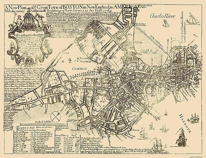 1939 Antique BOSTON City Map of Boston Massachusetts Street Map Wall Art Gift for Wedding Graduation Birthday Anniversary 8423