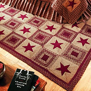 IHF Home Decor Country Star Wine | Braided Rectangle Area Rugs for Office, Living Room, Porch, Dormitory | 100% Natural Jute Fabric Mat | Thick Multicolored Accent Floor Carpet - Diameter 20
