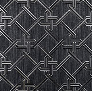Arthouse Gianni Foil Black and Silver Vinyl Wallpaper 903108 20.5in. x 33ft.
