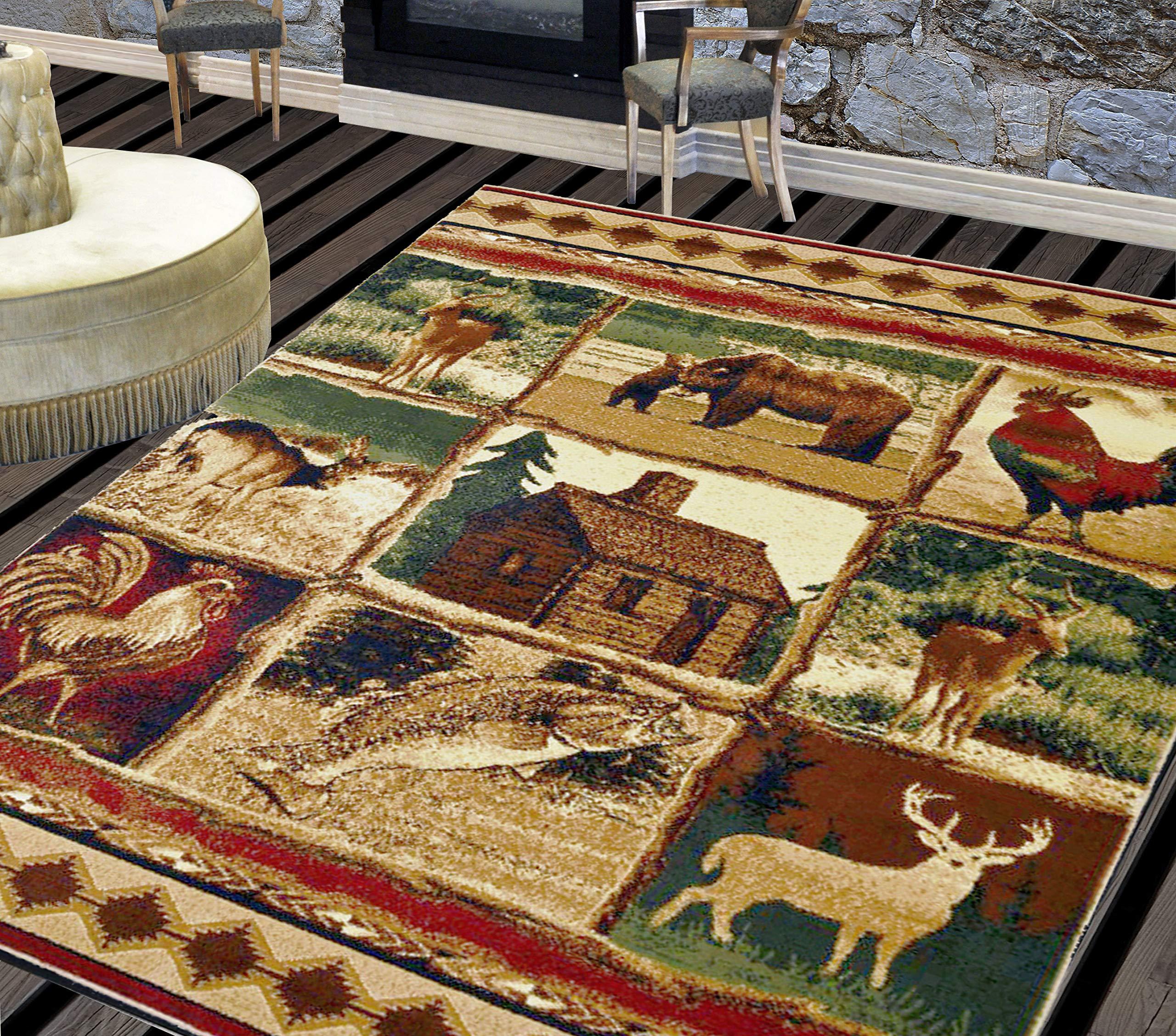 Lodge Rugs Cabin Decor Area 5x7 Rooster Rug Bohemian Flooring Carpet Carpets Rateshop Home Garden