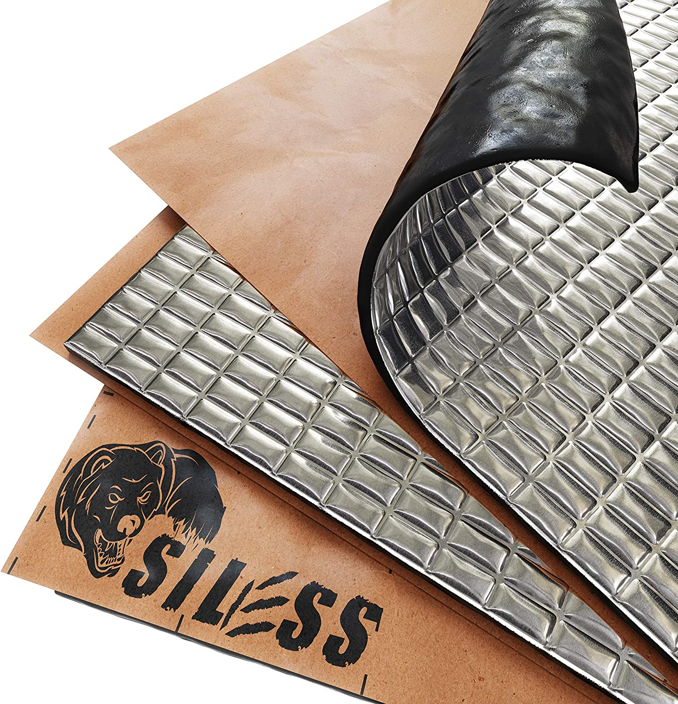 Siless 80 mil (2mm) 36 sqft Car Sound Deadening mat - Butyl Automotive Sound Deadener - Noise Insulation and Vibration Dampening Material (36 sqft)