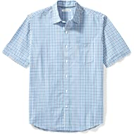 Amazon Essentials Men's Regular-Fit Short-Sleeve Plaid Casual Poplin Shirt