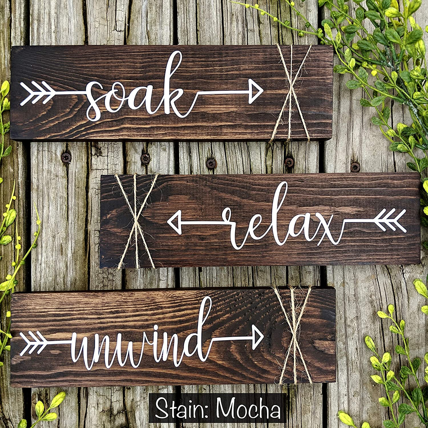 Farmhouse Rustic Bathroom Decor. Challenge the lowest price Soak Cheap mail order specialty store Unwind Relax of Set Signs.