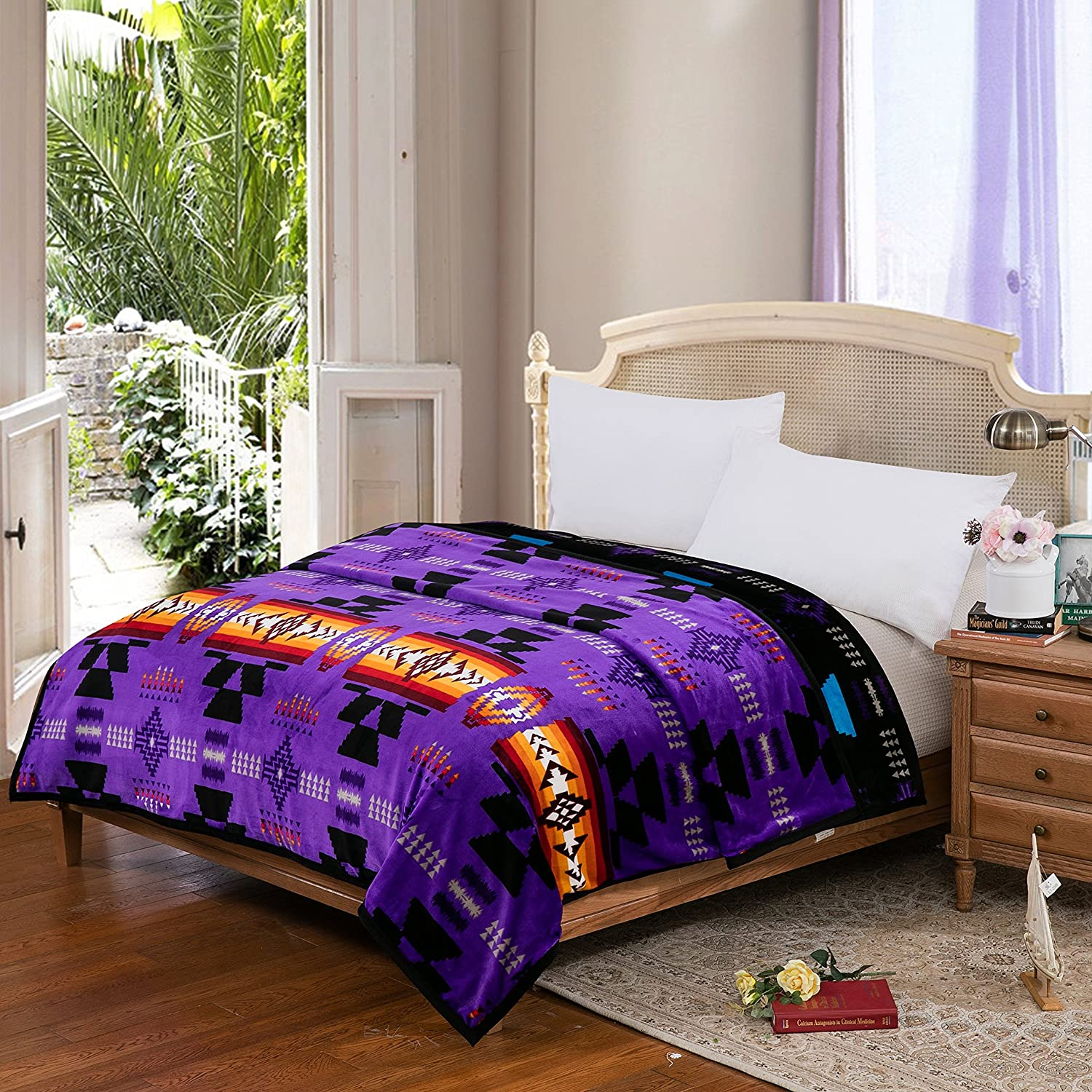 Southwest Design (Navajo Print) Queen Size Reversible Purple   Black