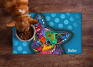 Drymate Personalized Pet Placemat, Dean Russo Designs, Custom Dog Food Mat, Cat Food Mat, Zorb-Tech Anti Flow Technology for Surface Protection (USA Made)