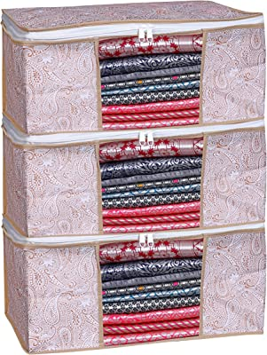 Porchex Presents Non Woven Saree Cover Storage Bags for Clothes with premium Quality Combo Offer Saree Organizer for Wardrobe/Organizers for Clothes/Organizers for Wardrobe_ 117 (Pack of 3)