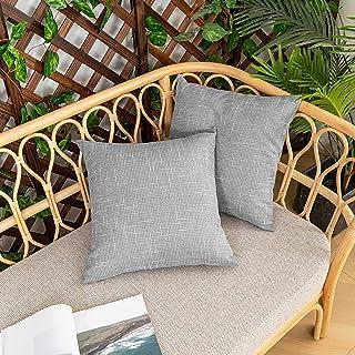 UGASA Pack of 2, Outdoor Waterproof Throw Pillow Covers 18 x 18 Inch 45 x 45 cm, Light Grey