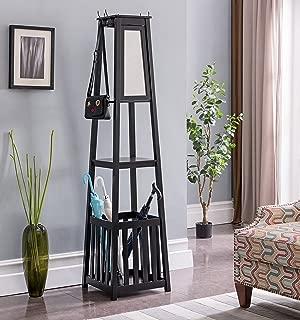 Kings Brand Furniture - Entryway Hall Tree Coat Rack Stand with Storage Shelf, Black, Black